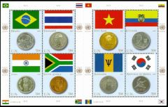 Flags and Coins: Brazil,Thailand,Viet Nam,Ecuador,India,South Africa,Barbados,Republic of Korea